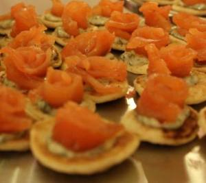 our home cured salmon on little blinis